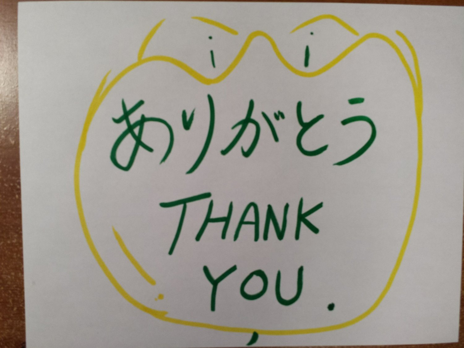 Yellow Tulip with Thank you in Japanese and English