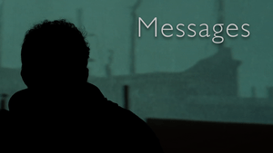 a scene from Messages of a man with a green background