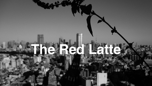 The Red Latte texts with urban city picture