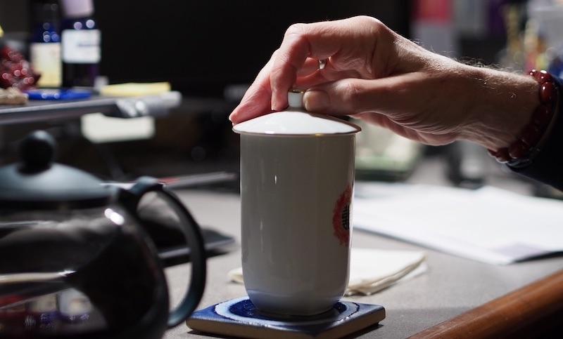 Tea cup on the desk of STANLEY MCCRACKEN